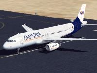 Almasria Universal Airlines Airbus A320-232 on runway.