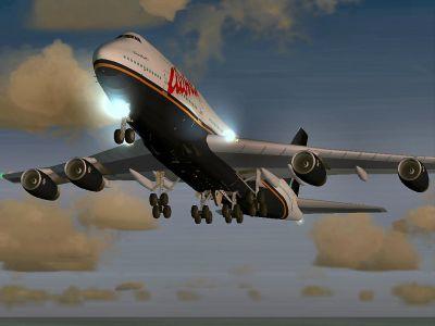 Aloha Boeing 747-400 taking off.