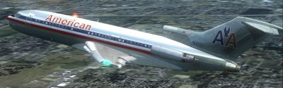 American Airlines Boeing 727-23 in flight.