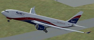 Arik Air Airbus A330-200 taking off.