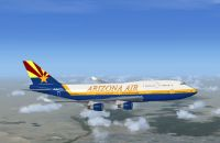 Arizona Virtual Airline Boeing 747-400 in flight.