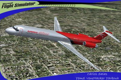 Aserca Airlines McDonnell Douglas MD-82 in flight.