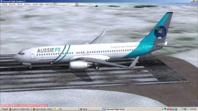 Aussie FS Logojet on runway.