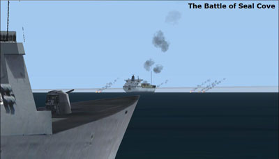 The Battle of Seal Cove from Freedom Sim's Falklands scenery package for FSX