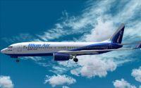 BlueAir And TAROM Boeing 737-800 in flight.