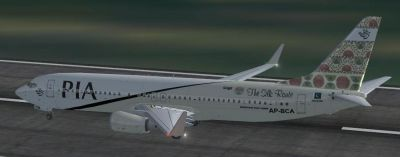 Pakistan International Airlines Boeing 737-800 NG ''Gilgit The Silk Route'' on runway.