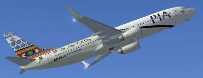 Pakistan International Airlines Boeing 737-800 ''Gwader The New Port City'' in flight.