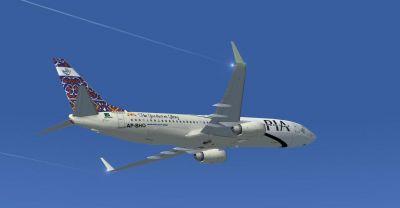 Pakistan International Airlines Boeing 737-800 ''Hasanabdal The Gurdwara Glory'' in flight.