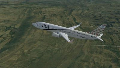 Pakistan International Airlines Boeing 737-800 ''Khaghan Mountain Paradise'' in flight.