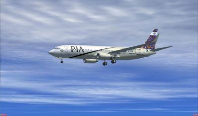 Pakistan International Airlines Boeing 737-800 ''Multan City of Saints'' in flight.