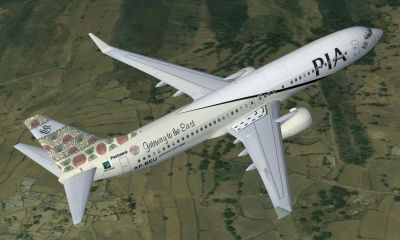 Pakistan International Airlines Boeing Boeing 737-800 ''Peshawar Gateway to the East'' in flight.