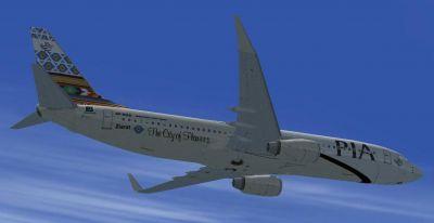 Pakistan International Airlines Boeing 737-800 ''Ziarat City of Flowers'' in flight.