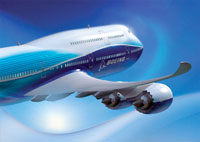 An artist impression of the Boeing 747-8.