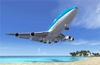 A Boeing 747 landing at the famous St Maarten airport.  Screenshot from Microsoft Flight Simulator X.