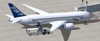 Boeing 797 V2 at boarding gate.