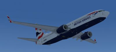 British Airways Boeing 737-800 in flight.