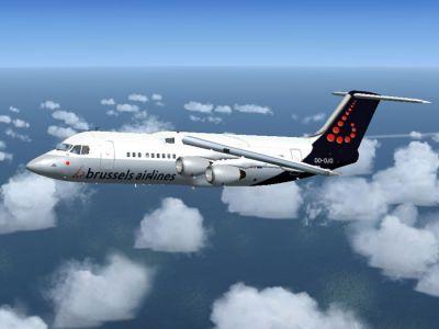 Brussels Airlines BAe Avro RJ100 in flight.
