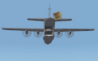Dropping cargo out the back of a C-130 in FS2004