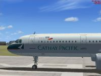 Cathay Pacific Airbus A321 on runway.