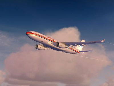 China Eastern Airbus A330 in flight.