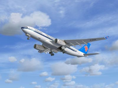 China Southern Airbus A330 Series with landing gear lowered.