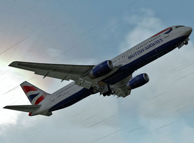 CLS Boeing 767 add-on for Microsoft Flight Simulator X.  Images shows a British Airways 767 flying in the rain.