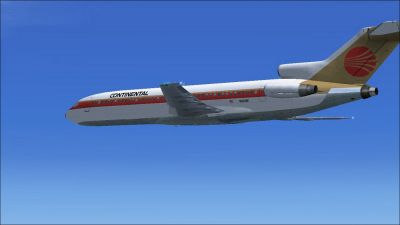 Continental Airlines Boeing 727-200 in flight.