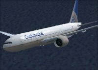 Continental Airlines Boeing 777-200ER in flight.