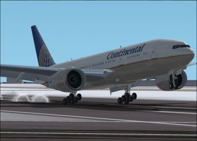 Continental Airlines Boeing 777-200ER taking off.