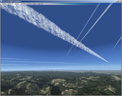 Example of the Contrails Pro add-on package for Microsoft Flight Simulator X and 2004