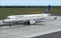 Copa Embraer 190 on runway.