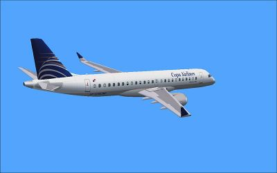 Copa Embraer 190 in flight.