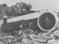 Wreckage of KLM Flight 4805 after crashing in Tenerife