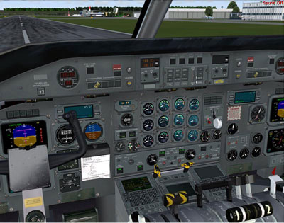Cockpit screenshot of Majestic Software's Dash8-Q300 model for FSX and FS2004.