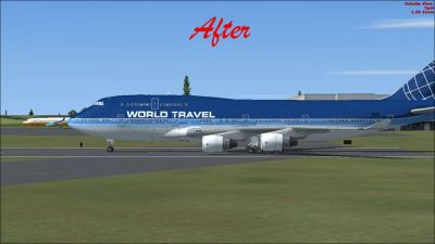 (After) Boeing 747-400 on runway.