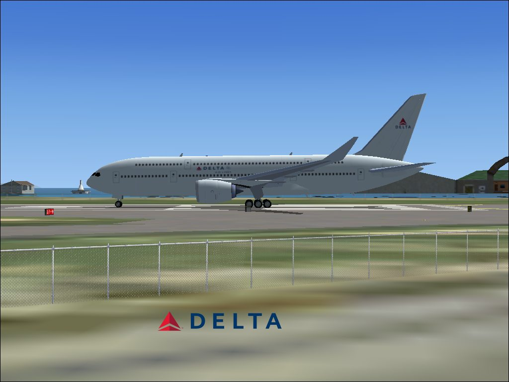 Delta Air Lines Airbus A370 on runway.