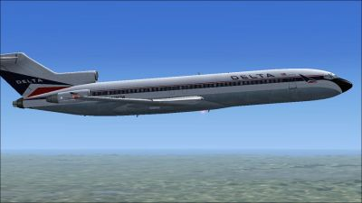 Delta Airlines Boeing 727-200 in flight.