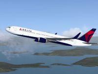 Delta Airlines Boeing 767-31K ER in flight.