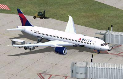 Delta Airlines Boeing 797 in flight.