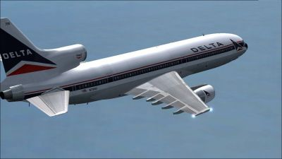 Delta Airlines Lockheed L1011 Tristar in flight.