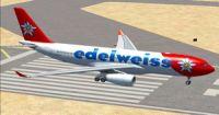 Edelweiss Air Airbus A330-200 on runway.