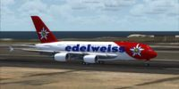 Edelweiss Air Airbus A380-800 on runway.
