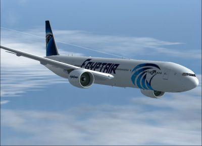 Egypt AIR Boeing 777-300 ER in flight.