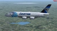 Egypt Air Airbus A380-800 in flight.