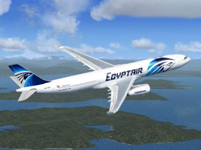EgyptAir Airbus A330-343X in flight.