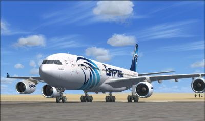 EgyptAir Airbus A340-500 on runway.