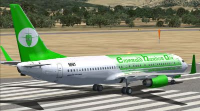 Emerald Harbor Air Boeing 737-800 on runway.