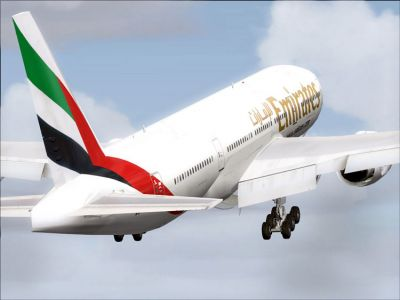 Emirates Boeing 777-21H taking off.