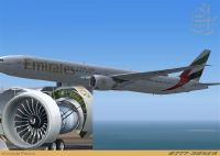 Emirates Boeing 777-300ER with engine view.