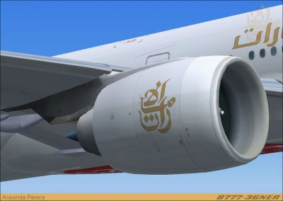 Close-up of Emirates Boeing 777-300ER engine.